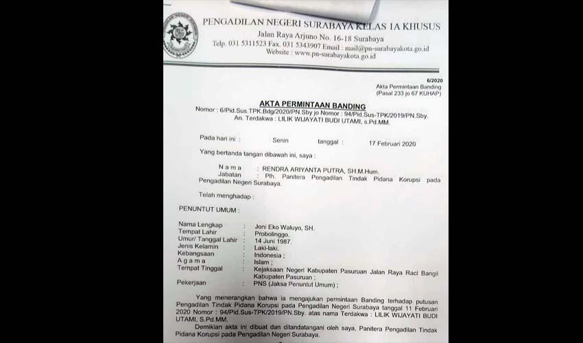 JPU Ajukan Banding Dan Segera Jerat Aktor Intelektual Korupsi Dispora
